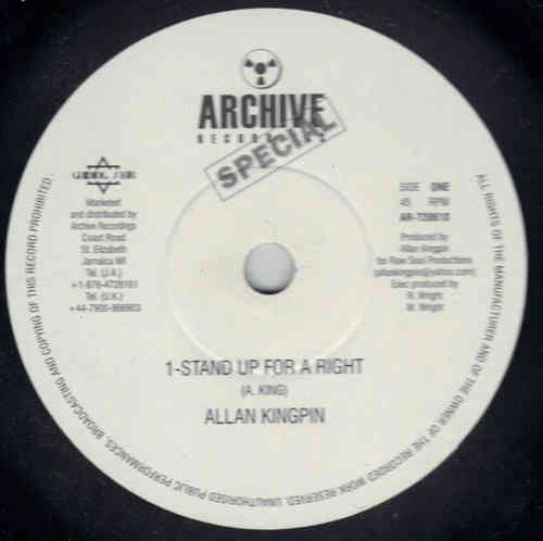 ALLAN KINGPIN stand up for your right / stand up for your right version - escort to london